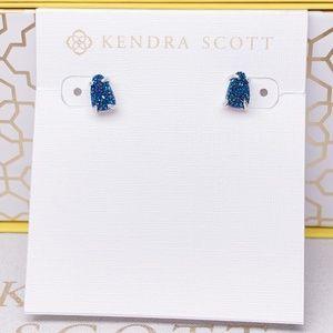 New Kendra Scott Silver Blue Drusy Harriett Stud